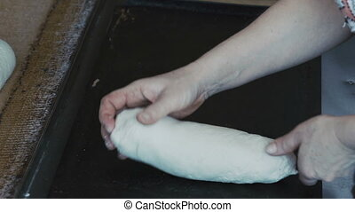 Preparing dough for baking breads. Full HD