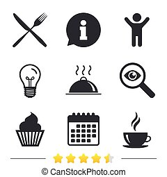 Food icons. Muffin cupcake symbol. Fork, knife.
