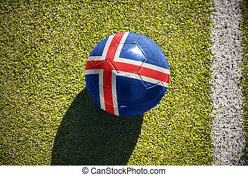 football ball with the national flag of iceland lies on the...