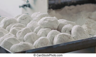 Preparing dough for baking rolls. Full HD