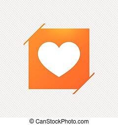 Love icon. Heart sign symbol. Orange square label on...