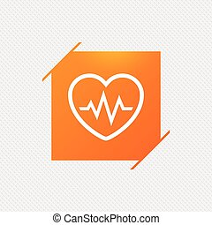 Heartbeat sign icon. Cardiogram symbol. Orange square label...