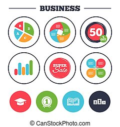 Graduation icons. Education book symbol. - Business pie...