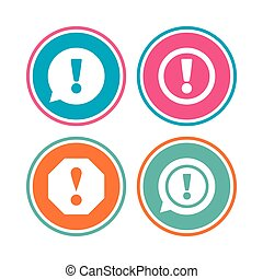 Attention icons. Exclamation speech bubble. - Attention...