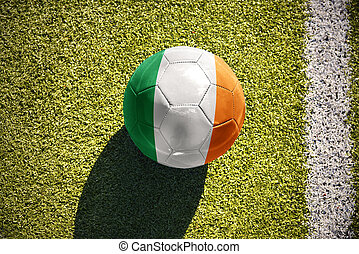 football ball with the national flag of ireland lies on the...
