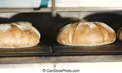 Close up of rye breads. Full HD