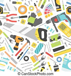 Construction tools icons seamless pattern. Hand equipment...