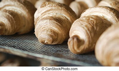 Background of baked croissants. Full HD