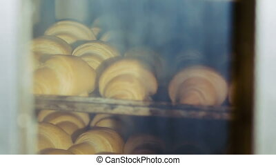 Process of baking croissants in the oven