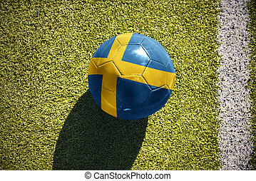 football ball with the national flag of sweden lies on the...