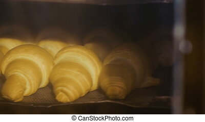 Process of baking croissants in the oven in full HD