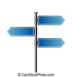 Blank blue roadsigns isolated on white background, design...