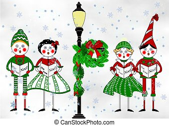 The Carolers - An illustration of two boys and two girls...