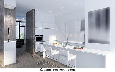 3D illustration of a modern room