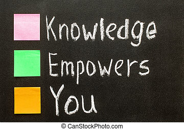 Hand writing Knowledge Empowers You on blackboard.