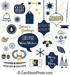 Flat navy blue and orange Christmas icons set on white...