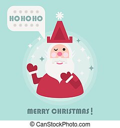 Merry Christmas holiday card with cute Santa icon on blue...