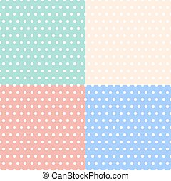 Polka dot tablecloth. Set of seamless patterns