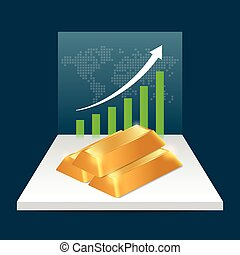 Gold price concept. Gold price growing up graph with world...
