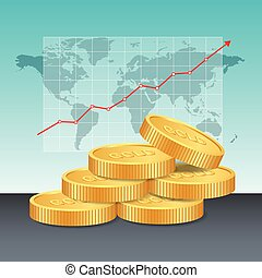 Gold price concept. Golden coins price growing up graph and chart with world map background.