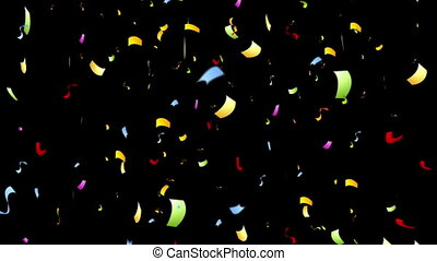 Colorful confetti on black video animation - Colorful...