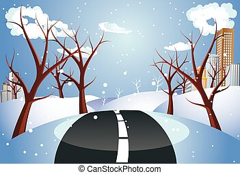 Winter Road to City - Countryside scene with road to the...