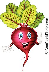 Cartoon beetroot giving thumbs up - Vector illustration of...