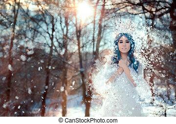 Snow Queen in Winter Fantasy Landscape - Beautiful princess...