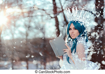 Snow Queen Reading Spell Book in Winter Fantasy - Beautiful...