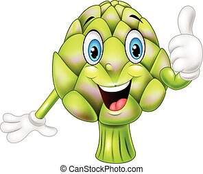 Cartoon artichoke giving thumbs up - Vector illustration of...