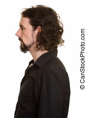 Profile view of handsome Caucasian man