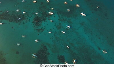 The beautiful bay with boats. Aerial view. - Aerial view of...