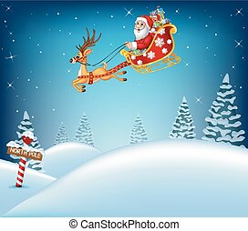 Happy Santa Calaus in his sled pulled by reindeer - Vector...