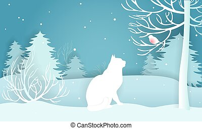 Winter snow-covered forest. White cat looking at a...