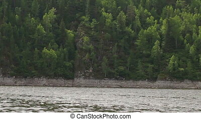 River speed boat mountain landscape - Boat view of River...
