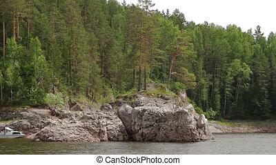 River summer mountain landscape in Syberia Russia - Boat...