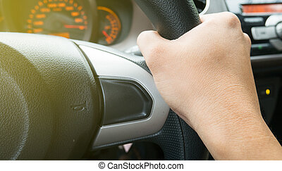 hand on wheel with horns sign