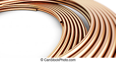 Copper metal pipes goods on white background. 3d...