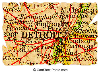 Detroit old map - Detroit, Michigan on an old torn map from...