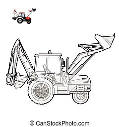 Black and white wire big digger builds roads. Construction...