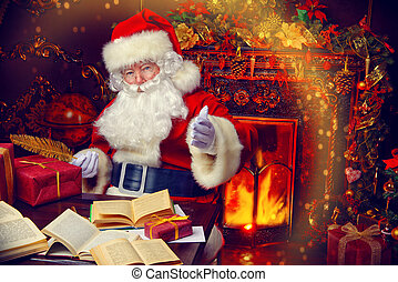 working place - Christmas, mail of Santa Claus. Santa Claus...