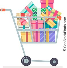 Shopping cart purchase gift flat design character vector...