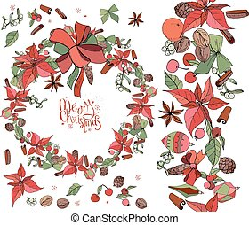 Set with Christmas objects - flowers, spice,fruits and...