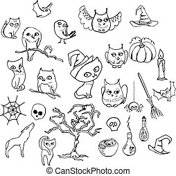 Halloween set with different animals isolated on white....