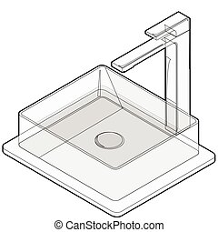 Isometric basin with tap. Bathroom sink. Kitchen interior infographic element.