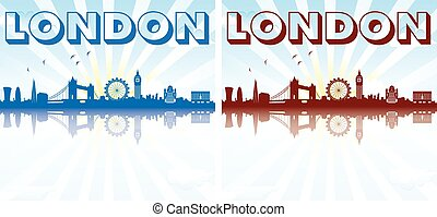 London Skyline Silhouette sun rays - London Skyline...