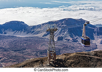 Cabin cableway on the island of Tenerife for the ascent and...