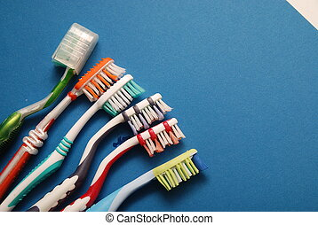 toothbrush  - teeth brush on blue background
