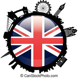 London Skyline Silhouette with britian flag - Round London...