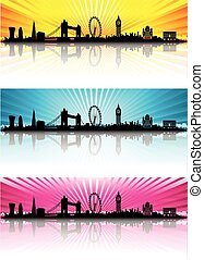London Skyline Silhouette color sun rays